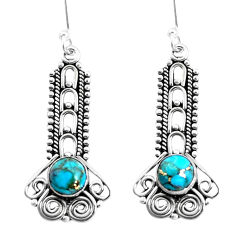 2.78cts blue copper turquoise 925 sterling silver dangle earrings jewelry p39333