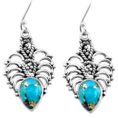 5.63cts blue copper turquoise 925 sterling silver dangle earrings jewelry p41313