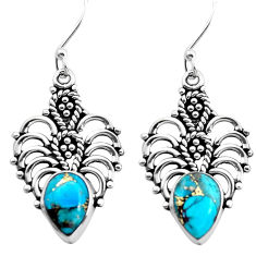 6.07cts blue copper turquoise 925 sterling silver dangle earrings jewelry p41316