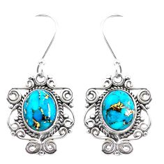 7.63cts blue copper turquoise 925 sterling silver dangle earrings jewelry p41389