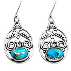 4.22cts blue copper turquoise 925 sterling silver dangle earrings jewelry p41411