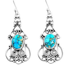6.02cts blue copper turquoise 925 sterling silver dangle earrings jewelry p51932