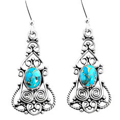 5.38cts blue copper turquoise 925 sterling silver dangle earrings jewelry p51934