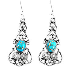 5.75cts blue copper turquoise 925 sterling silver dangle earrings jewelry p51936