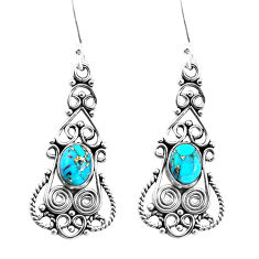5.28cts blue copper turquoise 925 sterling silver dangle earrings jewelry p51937