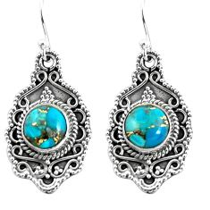 7.84cts blue copper turquoise 925 sterling silver dangle earrings jewelry p52755