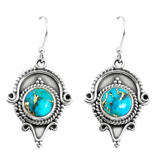 6.84cts blue copper turquoise 925 sterling silver dangle earrings jewelry p52854