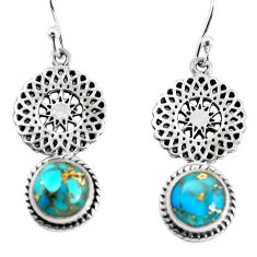6.53cts blue copper turquoise 925 sterling silver dangle earrings jewelry p55455