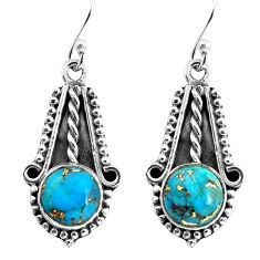 6.84cts blue copper turquoise 925 sterling silver dangle earrings jewelry p58252