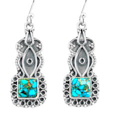 4.67cts blue copper turquoise 925 sterling silver dangle earrings jewelry p59995