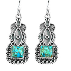 5.45cts blue copper turquoise 925 sterling silver dangle earrings jewelry p66559