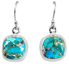 9.86cts blue copper turquoise 925 sterling silver dangle earrings jewelry p89370