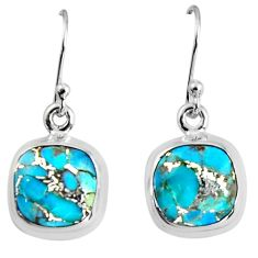 9.83cts blue copper turquoise 925 sterling silver dangle earrings jewelry p89371