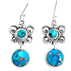 10.60cts blue copper turquoise 925 sterling silver dangle earrings p51554