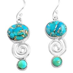12.03cts blue copper turquoise 925 sterling silver dangle earrings p85592