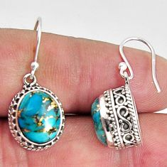 10.02cts blue copper turquoise 925 sterling silver dangle earrings p89806