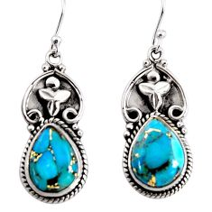 11.42cts blue copper turquoise 925 sterling silver dangle earrings p91485