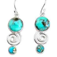 11.15cts blue copper turquoise 925 sterling silver dangle earrings p91498