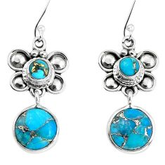 11.19cts blue copper turquoise 925 sterling silver dragonfly earrings p58348