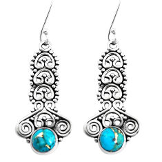 2.93cts blue copper turquoise 925 sterling silver earrings jewelry p39251