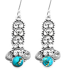 2.93cts blue copper turquoise 925 sterling silver earrings jewelry p39252