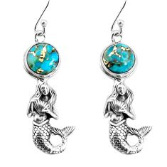 6.13cts blue copper turquoise 925 sterling silver fairy mermaid earrings p55472