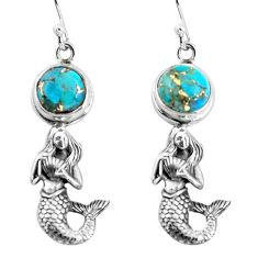 6.20cts blue copper turquoise 925 sterling silver fairy mermaid earrings p55473