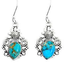 6.88cts blue copper turquoise 925 sterling silver flower earrings jewelry p50715