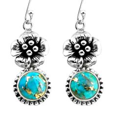 7.40cts blue copper turquoise 925 sterling silver flower earrings jewelry p60800