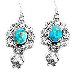 6.32cts blue copper turquoise 925 sterling silver owl earrings jewelry p51923