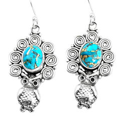 6.20cts blue copper turquoise 925 sterling silver owl earrings jewelry p51926