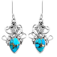5.81cts blue copper turquoise 925 sterling silver seahorse earrings p41496