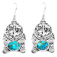 6.02cts blue copper turquoise 925 sterling silver tree of life earrings p51927