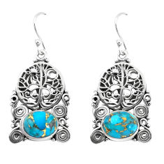 8.27cts blue copper turquoise 925 sterling silver tree of life earrings p58416