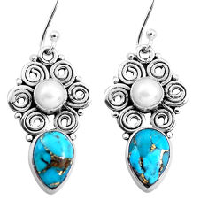 9.32cts blue copper turquoise pearl 925 sterling silver dangle earrings p41294