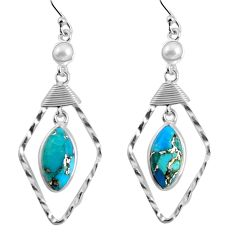 10.76cts blue copper turquoise pearl 925 sterling silver dangle earrings p90015