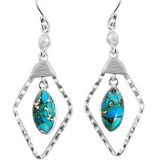 11.20cts blue copper turquoise pearl 925 sterling silver dangle earrings p90016