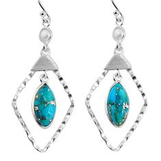 10.71cts blue copper turquoise pearl 925 sterling silver dangle earrings p90017