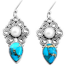 8.77cts blue copper turquoise white pearl 925 sterling silver earrings p41293