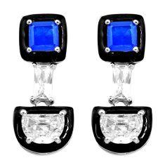 8.44cts blue sapphire (lab) topaz enamel 925 sterling silver earrings c2741