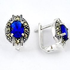 BLUE SAPPHIRE QUARTZ MARCASITE 925 STERLING SILVER STUD EARRINGS JEWELRY H1856