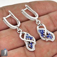 BLUE SAPPHIRE QUARTZ TOPAZ 925 STERLING SILVER DANGLE EARRINGS JEWELRY G74641