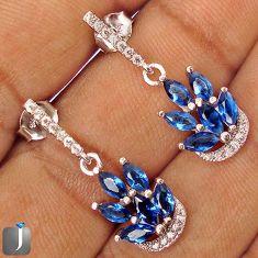 BLUE SAPPHIRE QUARTZ TOPAZ 925 STERLING SILVER DANGLE EARRINGS JEWELRY G77719