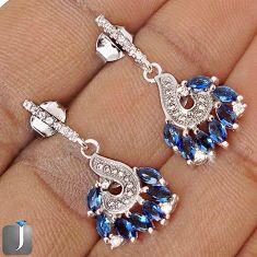 BLUE SAPPHIRE QUARTZ WHITE TOPAZ 925 STERLING SILVER EARRINGS JEWELRY G69707
