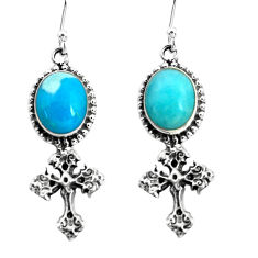 9.04cts blue sleeping beauty turquoise 925 silver holy cross earrings p60791