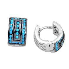 2.41cts blue sleeping beauty turquoise 925 sterling silver dangle earrings c1414