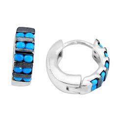 1.41cts blue sleeping beauty turquoise 925 sterling silver dangle earrings c1418