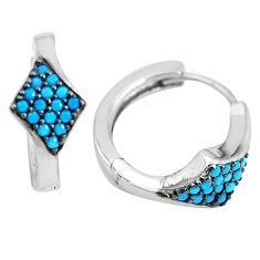 1.04cts blue sleeping beauty turquoise 925 sterling silver dangle earrings c1449