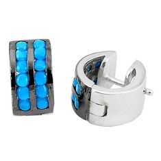 1.54cts blue sleeping beauty turquoise 925 sterling silver earrings c1352