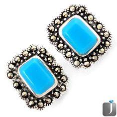 BLUE SLEEPING BEAUTY TURQUOISE MARCASITE 925 SILVER EARRINGS JEWELRY G74561